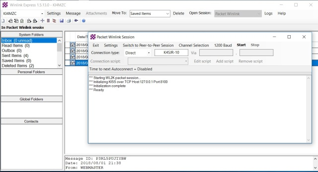 winlink express 3_packet session first screen