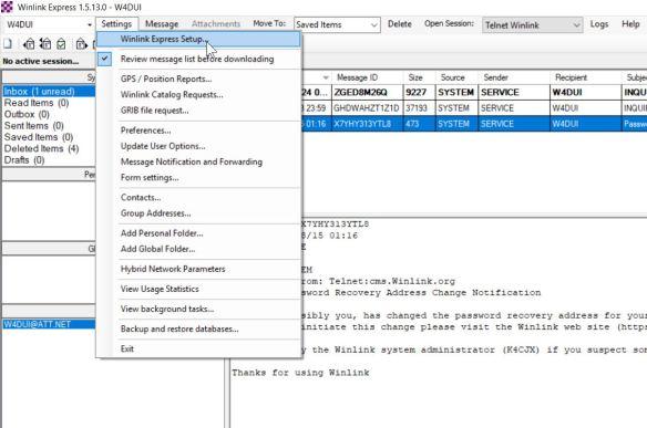 1  WinLink Setup – initial and telnet | Gateway Amateur